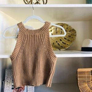 Callahan Brown Crop Knit Tank